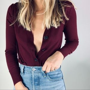 J.Crew 100% Merino Wool Burgundy cardigan sweater